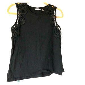 DEX black crochet detailed tank top